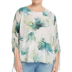 Vince Camuto Floral Print Drawstring Sleeve Blouse